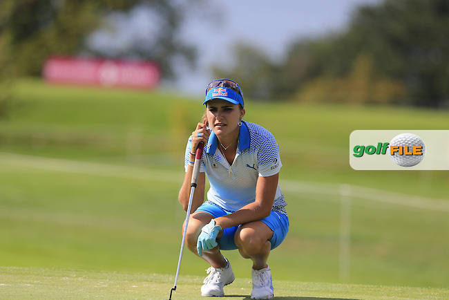 Lexi Thompson (USA) lines up her putt on the 15th green during Sunday's Final Round of the LPGA 2015 Evian Championship, held at the Evian Resort Golf Club, Evian les Bains, France. 13th September 2015.<br /> Picture Eoin Clarke | Golffile