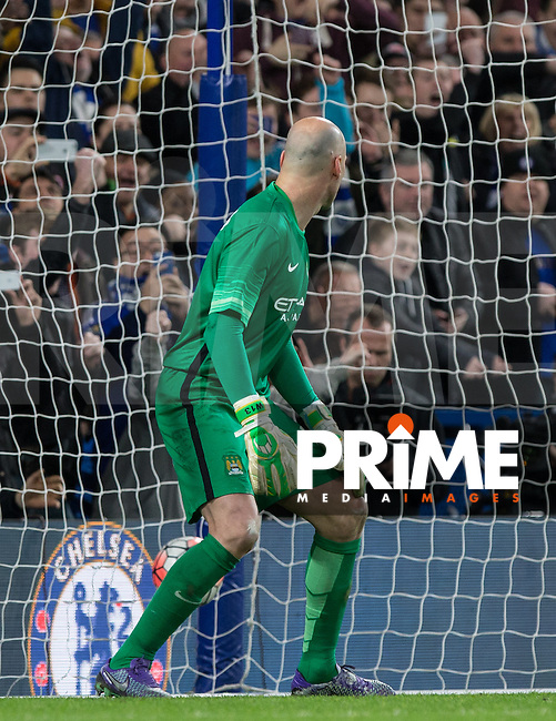 Goalkeeper Wilfredo Caballero of Man City can only watch as Hazards goal flies past him during the FA Cup 5th round match between Chelsea and Manchester City at Stamford Bridge, London, England on 21 February 2016. Photo by Andy Rowland.