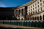 Porta-potties are lined-up in front of the EPA in preparation for the presidential inauguration, January 20, 2013 in Washington, D.C.