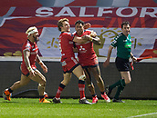 16th March 2018, The AJ Bell Stadium, Salford, England; Betfred Super League rugby, Salford Red Devils versus Hull FC; Sale celebrate Greg Johnson's try