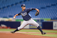 Tampa Bay Rays pitcher Jaime Schultz (63) during an Instructional League game against the Boston Red Sox on September 25, 2014 at Tropicana Field in St. Petersburg, Florida.  (Mike Janes/Four Seam Images)