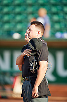 Home plate umpire Colin Baron before the game between the Orem Owlz and Ogden Raptors in Pioneer League action at Lindquist Field on June 21, 2017 in Ogden, Utah. The Owlz defeated the Raptors 16-5. This was Opening Night at home for the Raptors.  (Stephen Smith/Four Seam Images)