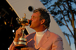 Darren Clarke, part of the victorious European Team kisses the Ryder Cup during the closing ceremony of the 2006 Ryder Cup at The K Club..Photo: Eoin Clarke/Newsfile.