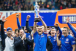 Lee McCulloch lifts the SFL Division 3 trophy