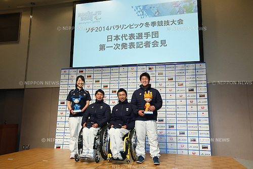 (L to R) Shoko Ota (JPN), Taiki Morii (JPN), Kozo Kubo (JPN), Hiraku Misawa (JPN), DECEMBER 24, 2013 - : Sochi Paralympics Japanese team first-order announcement press conference at Nihonbashi Hamacho F Tower Plaza, Tokyo, Japan. (Photo by AFLO SPORT)