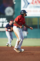 Bryce Bush (30) of the Kannapolis Intimidators takes his lead off of second base against the Rome Braves at Kannapolis Intimidators Stadium on July 3, 2019 in Kannapolis, North Carolina.  The Braves defeated the Intimidators 13-11, (Brian Westerholt/Four Seam Images)