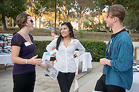 From left, Courtney Stricklin Burgan, Asst. Dir. for Employer Relations, Career Development Center talks with Occidental College students Ximena Santiago '16 and Mac Larsen '17 during the Career Development Center's Reverse Career Fair, Thorne Hall patio, Sept. 3, 2015.<br /> (Photo by Marc Campos, Occidental College Photographer)