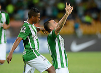 MEDELLIN- COLOMBIA - 17-08-2016: Los Jugadores de Atletico Nacional de Colombia celebran el gol anotado a Deportivo Municipal de Peru, durante partido de vuelta de la primera fase por la Copa Suramericana entre Atletico Nacional de Colombia y Deportivo Municipal de Peru, en el estadio Atanasio Girardot de la ciudad de Medellin.  / The players of Atletico Nacional of Colombia celebrate the goal scored to Deportivo Municipal of Peru, during a match for the second leg of the first phase between Atletico Nacional of Colombia and Deportivo Municipal of Peru, for the Copa Suramericana in the Atanasio Girardot stadium, in Medellin city. Photo: VizzorImage / Leon Monsalve / Cont.