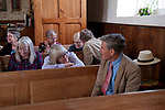 St Walstans Day, Bawburgh, St Mary and Saint Walstan&rsquo;s Church Norfolk 2018. Church members gather for Sunday church service and then process to the Holy healing well not far away.  <br />