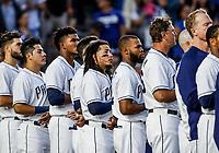 Christian Villanueva (i) y Freddy Galvis de San Diego, durante el partido de beisbol de los Dodgers de Los Angeles contra Padres de San Diego, durante el primer juego de la serie las Ligas Mayores del Beisbol en Monterrey, Mexico el 4 de Mayo 2018.<br /> (Photo: Luis Gutierrez)