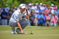 Wesley Bryan (USA) lines up his putt on 1 during Round 2 of the Zurich Classic of New Orl, TPC Louisiana, Avondale, Louisiana, USA. 4/27/2018.<br /> Picture: Golffile | Ken Murray<br /> <br /> <br /> All photo usage must carry mandatory copyright credit (&copy; Golffile | Ken Murray)