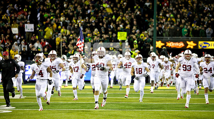 EUGENE, OR - November 17, 2012: Stanford Cardinal football vs the Oregon Ducks at Autzen Stadium in Eugene, OR. The Cardinal won 17-14 in OT.