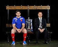 London, England. France captain Pascal Pape and Philippe Saint Andre the France head coach pose with the Six Nations trophy during the RBS Six Nations launch at The Hurlingham Club on January 23, 2013 in London, England.