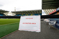 14th July 2020; The Den, Bermondsey, London, England; English Championship Football, Millwall Football Club versus Blackburn Rovers; Red Zone Restricted Area barrier protecting the dugout