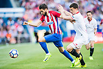 Yannick Ferreira Carrasco (l) of Atletico de Madrid fights for the ball with Clement Lenglet of Sevilla FC during their La Liga match between Atletico de Madrid and Sevilla FC at the Estadio Vicente Calderon on 19 March 2017 in Madrid, Spain. Photo by Diego Gonzalez Souto / Power Sport Images