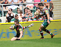 Aviva Premiership Final .Twickenham, England. Tom Williams of Harlequins runs in for the first try during the AVIVA Premiership Final between Harlequins and Leicester Tigers at Twickenham Stadium on May 26, 2012 in London, United Kingdom.