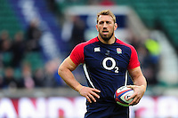 Chris Robshaw of England looks on during the pre-match warm-up. RBS Six Nations match between England and Ireland on February 27, 2016 at Twickenham Stadium in London, England. Photo by: Patrick Khachfe / Onside Images