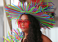(07/06/2017- Nantucket, MA) Model Lily Andrade models a plastic straw costume made by her aunt at the Cisco Trashion Show, a fashion show showing off costumes made of trash, at Cisco Brewers on Thursday, July 6, 2017. Staff Photo by Matt West