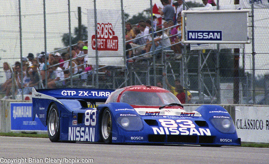 The #83 Nissan Performance  Nissan NPT-90  of  Geoff Brabham  races to a 5th place finish in the Nissan World Challenge of Tampa,  Florida State Fairgrounds, September 1990. (Photo by Brian Cleary/www.bcpix.com)