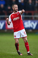 Fleetwood Town's Paddy Madden gestures<br /> <br /> Photographer Richard Martin-Roberts/CameraSport<br /> <br /> The EFL Sky Bet League One - Fleetwood Town v Plymouth Argyle - Saturday 10th March 2018 - Highbury Stadium - Fleetwood<br /> <br /> World Copyright &copy; 2018 CameraSport. All rights reserved. 43 Linden Ave. Countesthorpe. Leicester. England. LE8 5PG - Tel: +44 (0) 116 277 4147 - admin@camerasport.com - www.camerasport.com