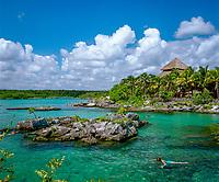 Mexiko, Yucatan, Quintana Roo, Xel-ha National Park: Schnorcheln in der Lagune | Mexico, Yucatan, Quintana Roo, Xel-ha National Park: Snorkelling in Lagoon