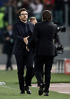 Football Soccer: UEFA Champions League AS Roma vs Chelsea Stadio Olimpico Rome, Italy, October 31, 2017. <br /> Roma's coach Eusebio Di Francesco (l) greets Chelsea's coach Antonio Conte (r) after winning 3-0 the Uefa Champions League football soccer match between AS Roma and Chelsea at Rome's Olympic stadium, October 31, 2017.<br /> <br /> UPDATE IMAGES PRESS/Isabella Bonotto
