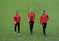 Fleetwood Town's Conor McAleny, Kyle Dempsey and Gethin Jones<br /> <br /> Photographer Kevin Barnes/CameraSport<br /> <br /> The EFL Sky Bet League One - Oxford United v Fleetwood Town - Tuesday 10th April 2018 - Kassam Stadium - Oxford<br /> <br /> World Copyright &copy; 2018 CameraSport. All rights reserved. 43 Linden Ave. Countesthorpe. Leicester. England. LE8 5PG - Tel: +44 (0) 116 277 4147 - admin@camerasport.com - www.camerasport.com