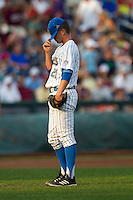 UCLA pitcher Nick Vander Tuig (21) before the 2013 Men's College World Series Final game against the Mississippi State Bulldogs on June 25, 2013 at TD Ameritrade Park in Omaha, Nebraska. The Bruins defeated the Bulldogs 8-0, winning the National Championship. (Andrew Woolley/Four Seam Images)