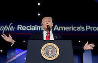 United States President Donald Trump delivers remarks to the Conservative Political Action Conference (CPAC) at National Harbor, Maryland, February 24, 2017. Photo Credit: Olivier Douliery/CNP/AdMedia
