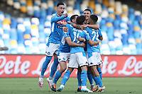 Dries Mertens of Napoli celebrates with team mates after scoring a goal during the Serie A football match between SSC  Napoli and SPAL at stadio San Paolo in Naples ( Italy ), June 28th, 2020. Play resumes behind closed doors following the outbreak of the coronavirus disease. <br /> Photo Cesare Purini / Insidefoto