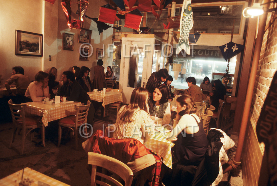 Quebec, Canada, March 1978. Daily life in Quebec. A small restaurant interior in Quebec City.