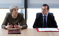 (L-R) British Prime Minister Theresa May with Alun Cairns Secretary of State for Wales at the Swansea University Bay Campus, Swansea, Wales, UK. Monday 20 March 2017.