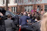 Washington, DC - March 19, 2015: His Royal Highness The Prince of Wales makes his way to greet bystanders across from the Carlos Rosario Public Charter School in the District of Columbia, March 19, 2015. Prince Charles toured the Rosario school as part of his four-day visit to the United States. (Photo by Don Baxter/Media Images International)