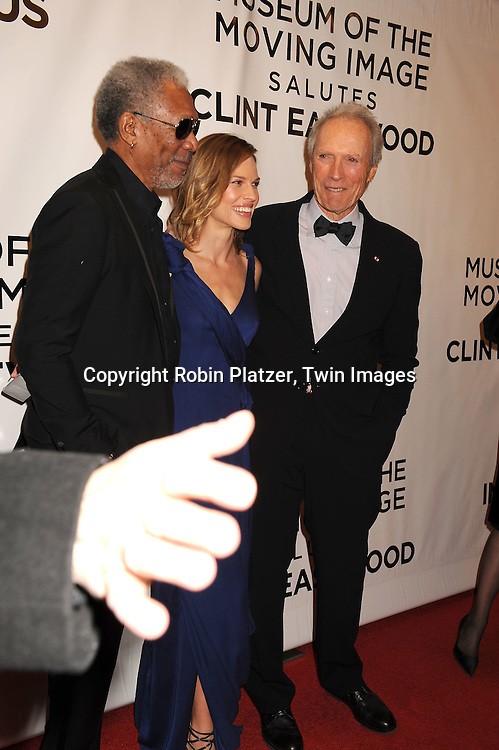 Morgan Freeman, Hilary Swank and Clint Eastwood