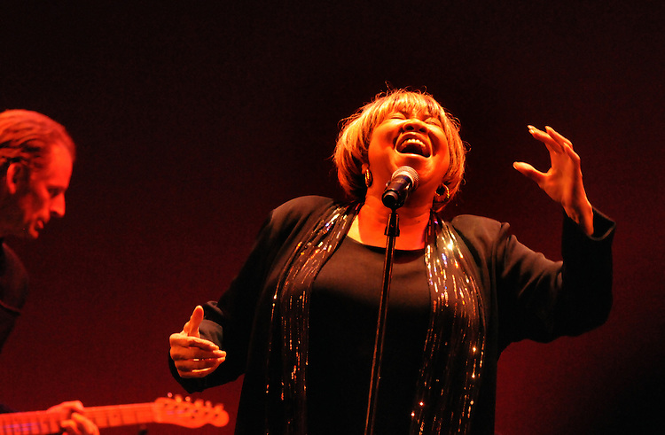 Mavis Staples, (with guitarist, Rick Holmstrom in background) performing at the Bardavon Opera House, in Poughkeepsie, NY on Friday, January 20, 2012. Photo by Jim Peppler. Copyright Jim Peppler/2012.