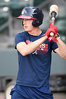 Center fielder Drew Waters (11) of the Rome Braves takes batting practice before a game against the Greenville Drive on Wednesday, July 11, 2018, at Fluor Field at the West End in Greenville, South Carolina. Greenville won, 6-4. (Tom Priddy/Four Seam Images)