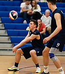 OXFORD,  CT-041519JS20- Oxford's Colin Speaker (5) settles the ball on during their match with Joel Barlow Monday at Oxford High School. <br /> Jim Shannon Republican American