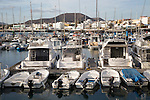 Pleasure boats in the harbour at Corralejo, Fuerteventura, Canary Islands, Spain