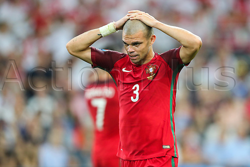 30.06.2016. Marseille, France. UEFA EURO 2016 quarter final match between Poland and Portugal at the Stade Velodrome in Marseille, France, 30 June 2016.   Pepe (POR)cannot stand to watch the penalty kicks
