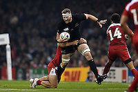 Kieran Read of New Zealand takes on the Georgia defence. Rugby World Cup Pool C match between New Zealand and Georgia on October 2, 2015 at the Millennium Stadium in Cardiff, Wales. Photo by: Patrick Khachfe / Onside Images