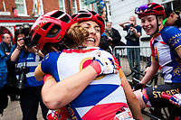 Picture by Alex Whitehead/SWpix.com - 13/05/2018 - British Cycling - HSBC UK National Women's Road Series - Lincoln Grand Prix - Rebecca Durrell of Storey Racing celebrates the win with Anna Kay and Emily Nelson.