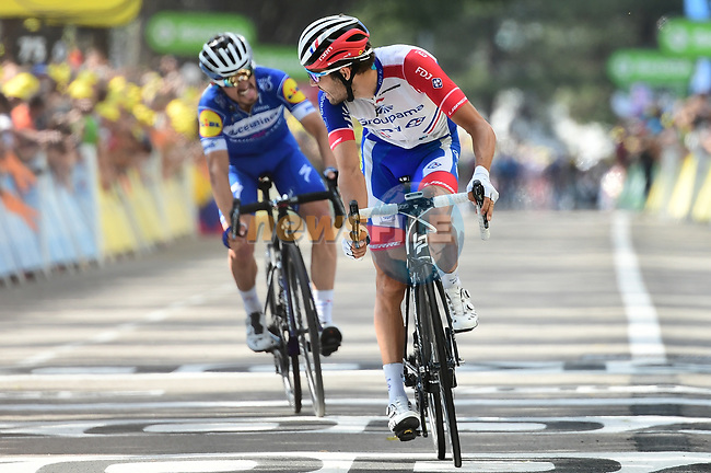 Thibaut Pinot (FRA) Groupama-FDJ finishes in 2nd place with Julian Alaphilippe (FRA) Deceuninck-Quick Step in 3rd and taking back the Yellow Jersey at the end of Stage 8 of the 2019 Tour de France running 200km from Macon to Saint-Etienne, France. 13th July 2019.<br /> Picture: ASO/Alex Broadway | Cyclefile<br /> All photos usage must carry mandatory copyright credit (© Cyclefile | ASO/Alex Broadway)