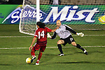 22 January 2006: US goalkeeper Matt Reis (24) stops Canada's Dwayne DeRosario's breakaway attempt to keep the US level on the scoreboard. The United States Men's National Team tied Canada 0-0 at Torero Stadium in San Diego, California in an International Friendly soccer match.