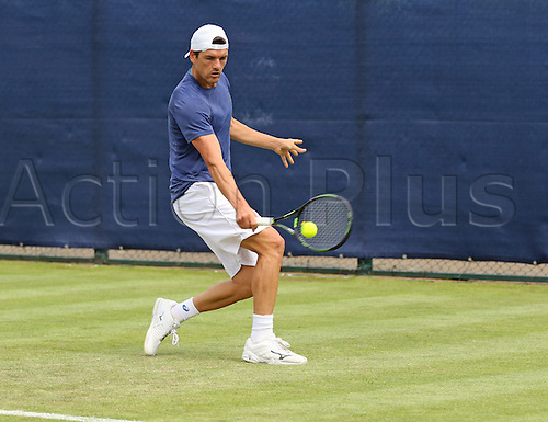 21.06.2016. Nottingham Tennis Centre, Nottingham, England. Aegon Open Mens ATP Tennis. Backhand from Frank Dancevic of Canada who defeated Mikhail Kukushkin of Kazakhstan