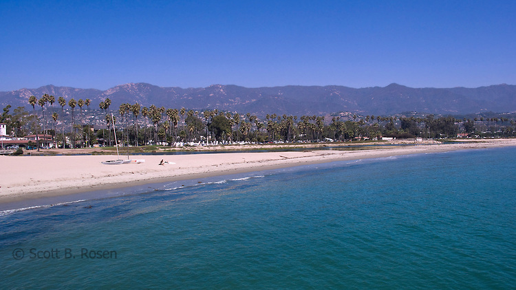 Long stretch of white sand beach, Santa Barbara, California