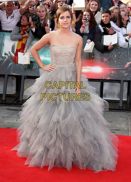 Emma Watson.at the World Premiere of 'Harry Potter and the Deathly Hallows - Part 2' at Trafalgar Square, London, England, .July 7th 2011..7 final seven arrivals full length  tulle gown ballgown dress long maxi hand on hip  grey gray  beige beaded silver  mesh see thru through sleeveless strapless .CAP/ROS.©Steve Ross/Capital Pictures