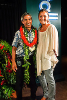 North Shore, Oahu, Hawaii (Wednesday, December 11, 2013,) Thompson and  artist Kimi Werner (HAW).   Nainoa Thompson &ndash; native Hawaiian navigator of Hawai&lsquo;i&rsquo;s traditional double-hull sailing canoe Hokule&lsquo;a, and President of the Polynesian Voyaging Society &ndash; is a living conduit of Hawaiian culture and traditional wayfinding skills. He spoke for over an hour before being joined on the stage by members of the crew for the three year around the world voyage. They were interviewed by host Jodi Wilmott (AUS) . Photo: joliphotos.com<br /> Nainoa Thompson &ndash; native Hawaiian navigator of Hawai&lsquo;i&rsquo;s traditional double-hull sailing canoe Hokule&lsquo;a, and President of the Polynesian Voyaging Society &ndash; is a living conduit of Hawaiian culture and traditional wayfinding skills. He spoke for over an hour before being joined on the stage by members of the crew for the three year around the world voyage. They were interviewed by host Jodi Wilmott (AUS) . Photo: joliphotos.com