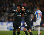 Pedro of Chelsea (r) celebrates scoring the third goal with Willian of Chelsea during the premier league match at the John Smith's Stadium, Huddersfield. Picture date 12th December 2017. Picture credit should read: Simon Bellis/Sportimage