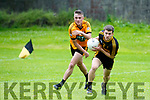 In Action Stack's Sean Ryan and Crokes Cillian Fitzgerald at Austin Stacks V Dr Crokes at Connolly Park Tralee on Saturday