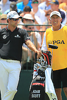 Adam Scott (AUS) and caddy Steve Williams wait to tee off the 1st tee to start his match Sunday's Final Round of the 94th PGA Golf Championship at The Ocean Course, Kiawah Island, South Carolina, USA 11th August 2012 (Photo Eoin Clarke/www.golffile.ie)